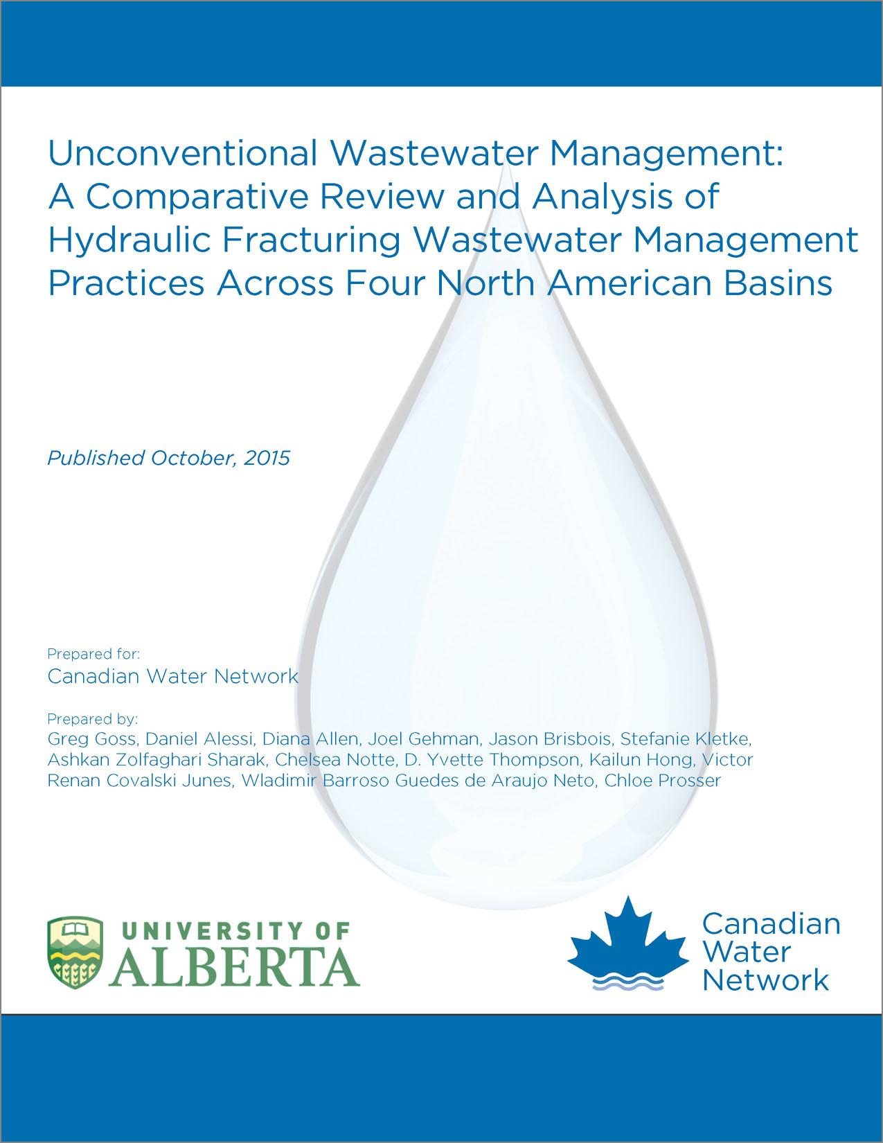Gestion non conventionnelle des eaux usées : étude et analyse comparatives des pratiques de gestion des eaux résiduaires de la fracturation hydraulique dans quatre bassins en Amérique du Nord