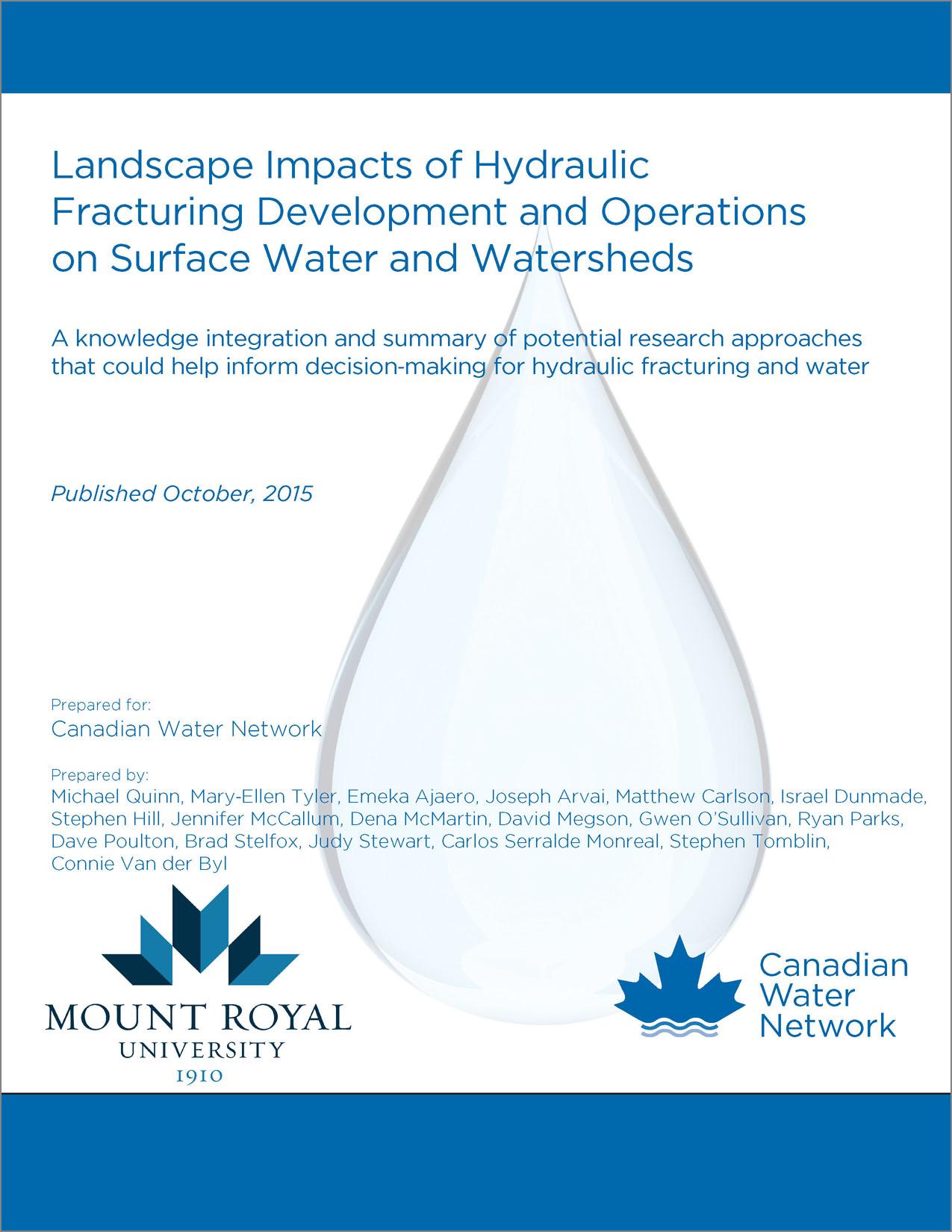 Intégration des connaissances sur l'eau et la fracturation hydraulique: les impacts du paysage