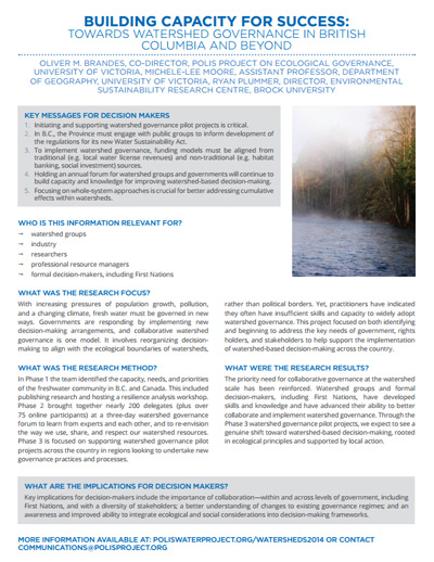 Building Capacity for Success: Towards watershed governance in British Columbia and beyond
