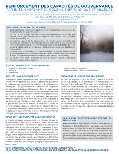 Renforcement des capacités de gouvernance par bassin versant en Colombie-Britannique et ailleurs